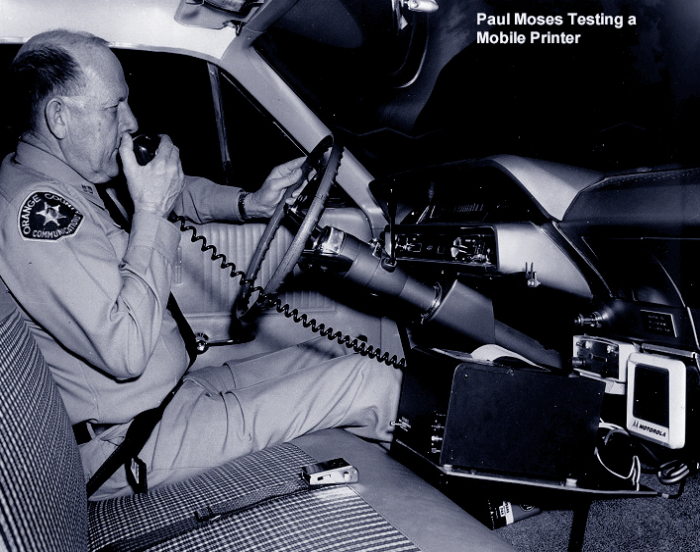 Paul Moses testing a mobile printer